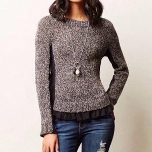 Anthropologie Moth Apsara Sweater Ruffle S Beige